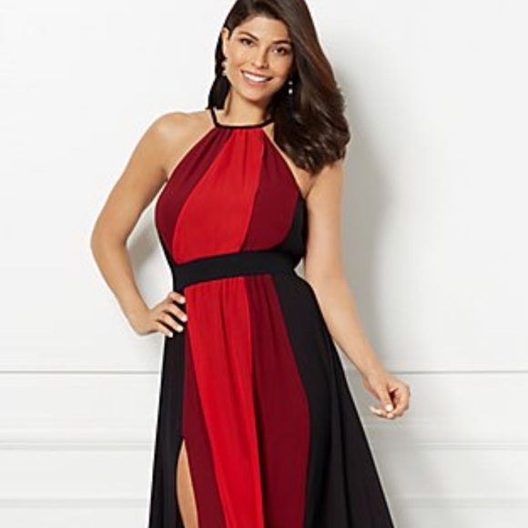 big sale united states latest discount eva mendes for New York & Company Dresses | Long Flowy Red Black ...